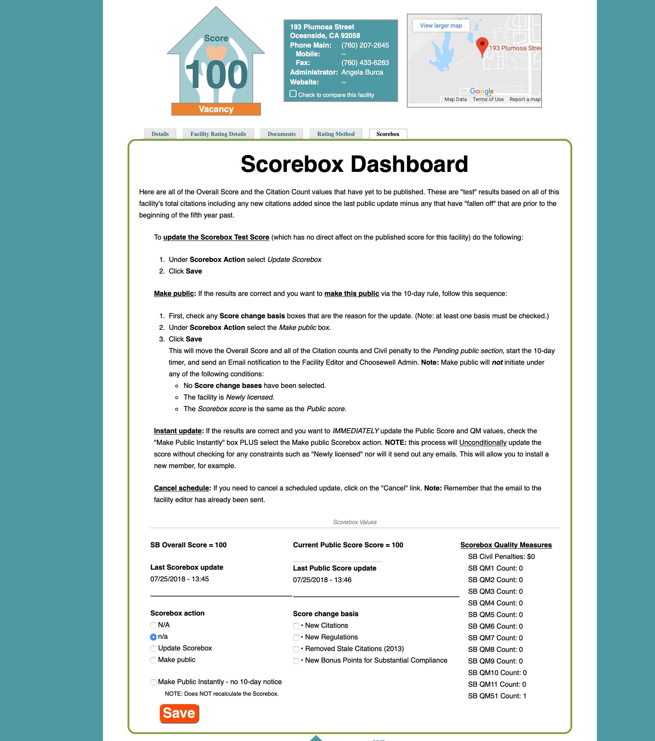 ChooseWell San Diego Scorebox