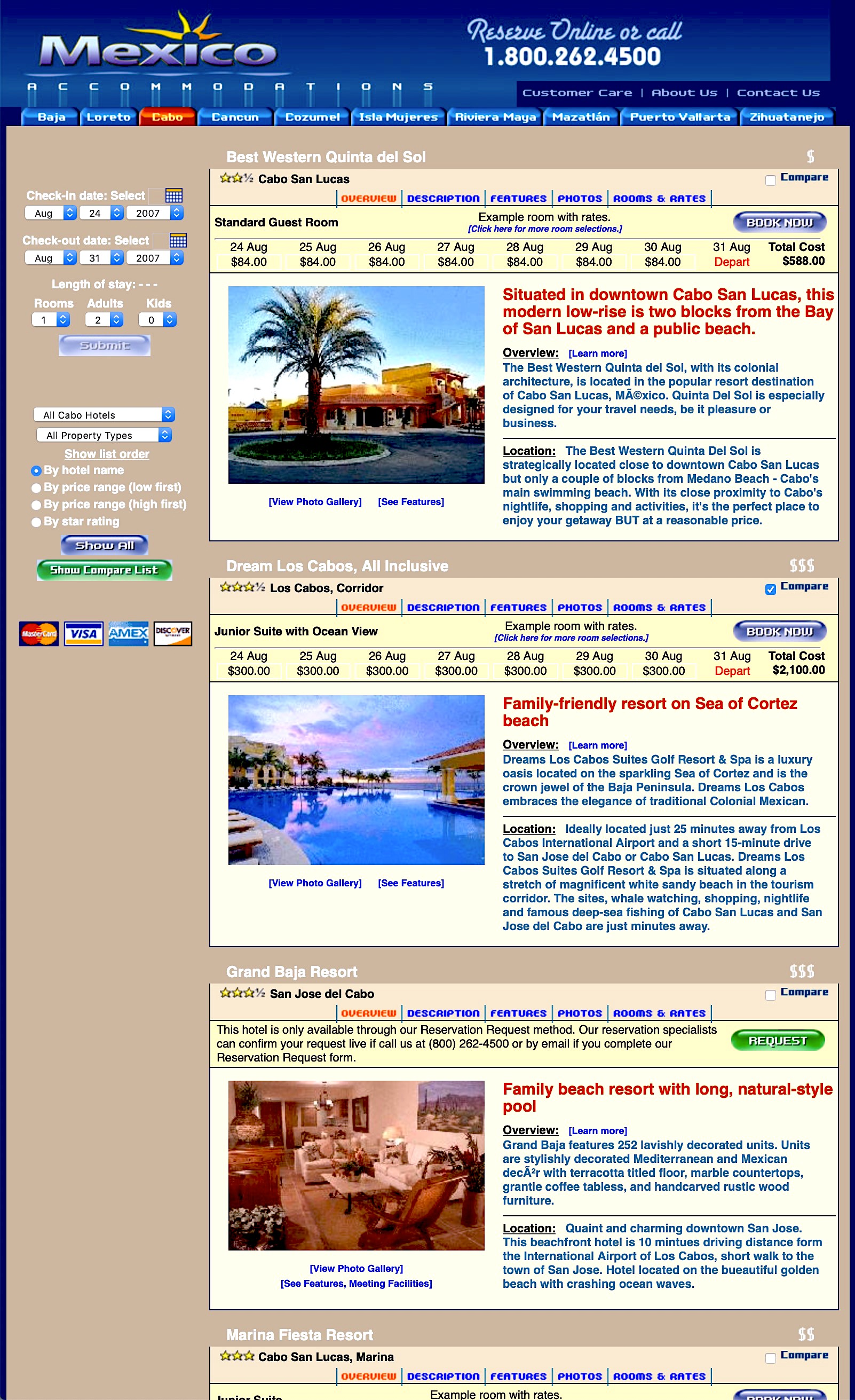 Mexico Accommodations Catalog